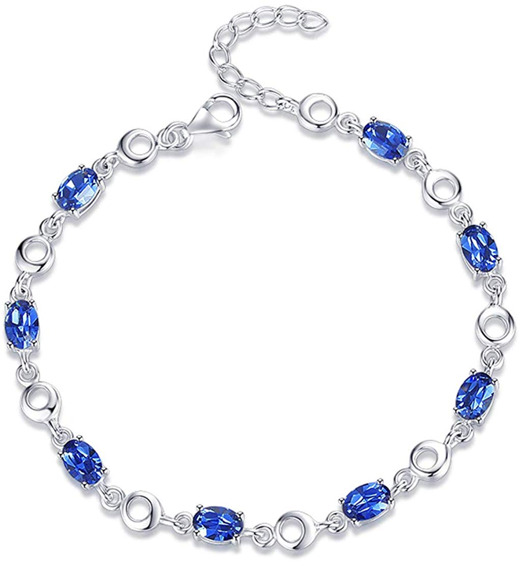 """Carleen White Gold Plated 925 Sterling Silver CZ Cubic Zirconia Created Blue Heart Oval Sapphire Tennis Bracelet for Women Girls, 7"""" + 1.2"""" Extender"""