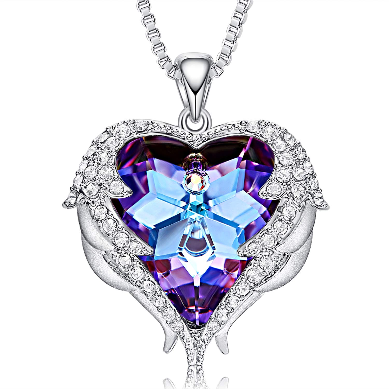 CDE Angel Wing Necklaces for Women Christmas Jewelry Gifts Embellished with Crystals from Swarovski Pendant Necklace Heart of Ocean Jewelry with GIF Box