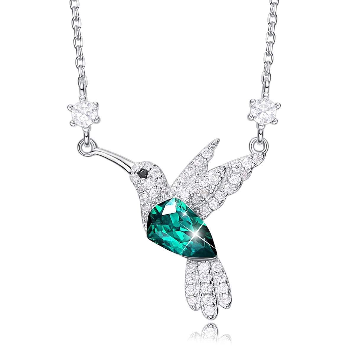 CDE Valentine Galentine Necklace Gifts for Women Hummingbird Necklaces S925 Sterling Silver Necklaces for Women Embellished with Crystals from Swarovski Jewelry for Women, Animal Necklace Gifts for Ladies Girlfriend and Mom