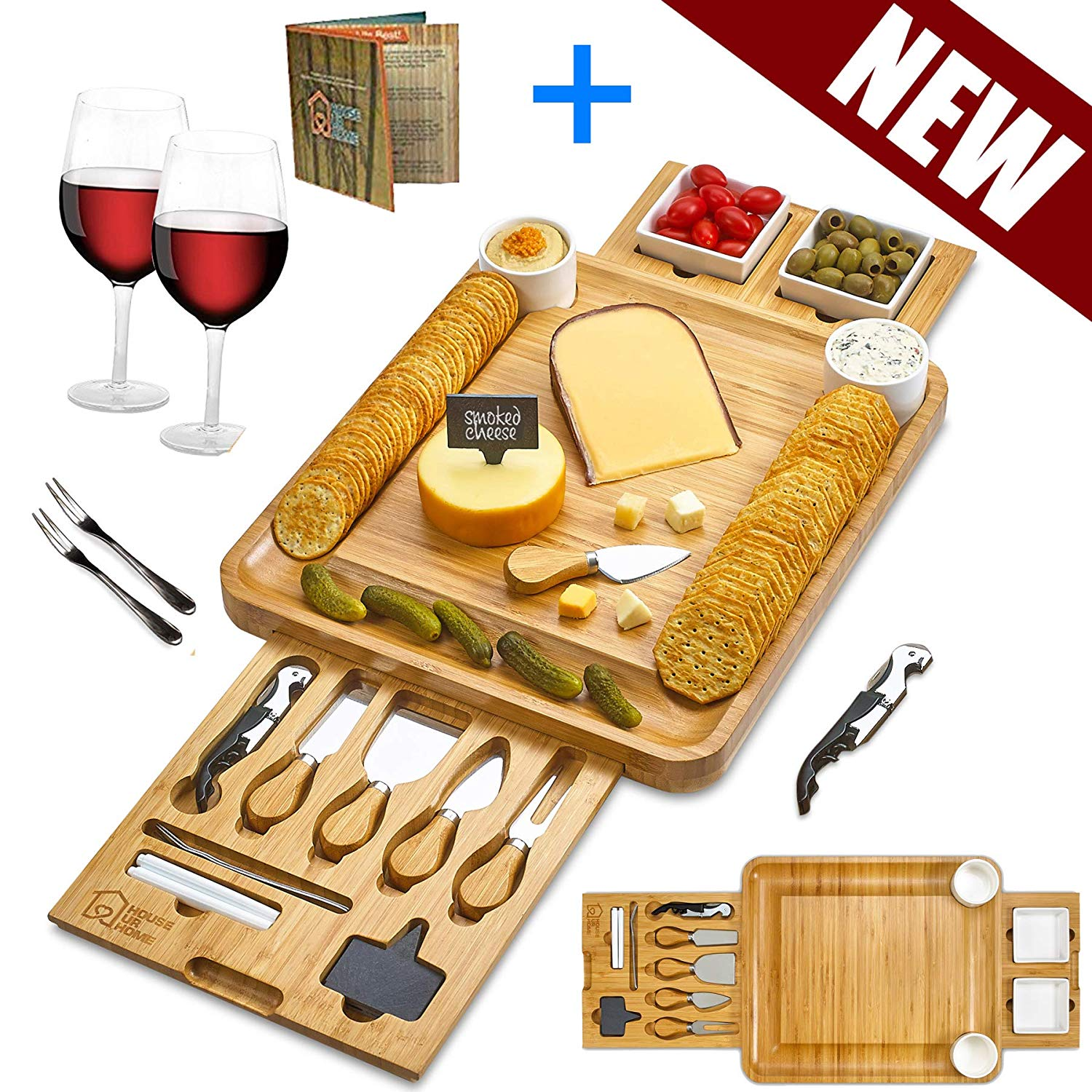 Cheese Board 2 Ceramic Bowls 2 Serving Plates. Magnetic 2 Drawers Bamboo Charcuterie Cutlery Knife Set, 2 Server Forks, Wine Opener, Labels, Markers, Gift for Birthdays, Wedding Registry,Housewarming