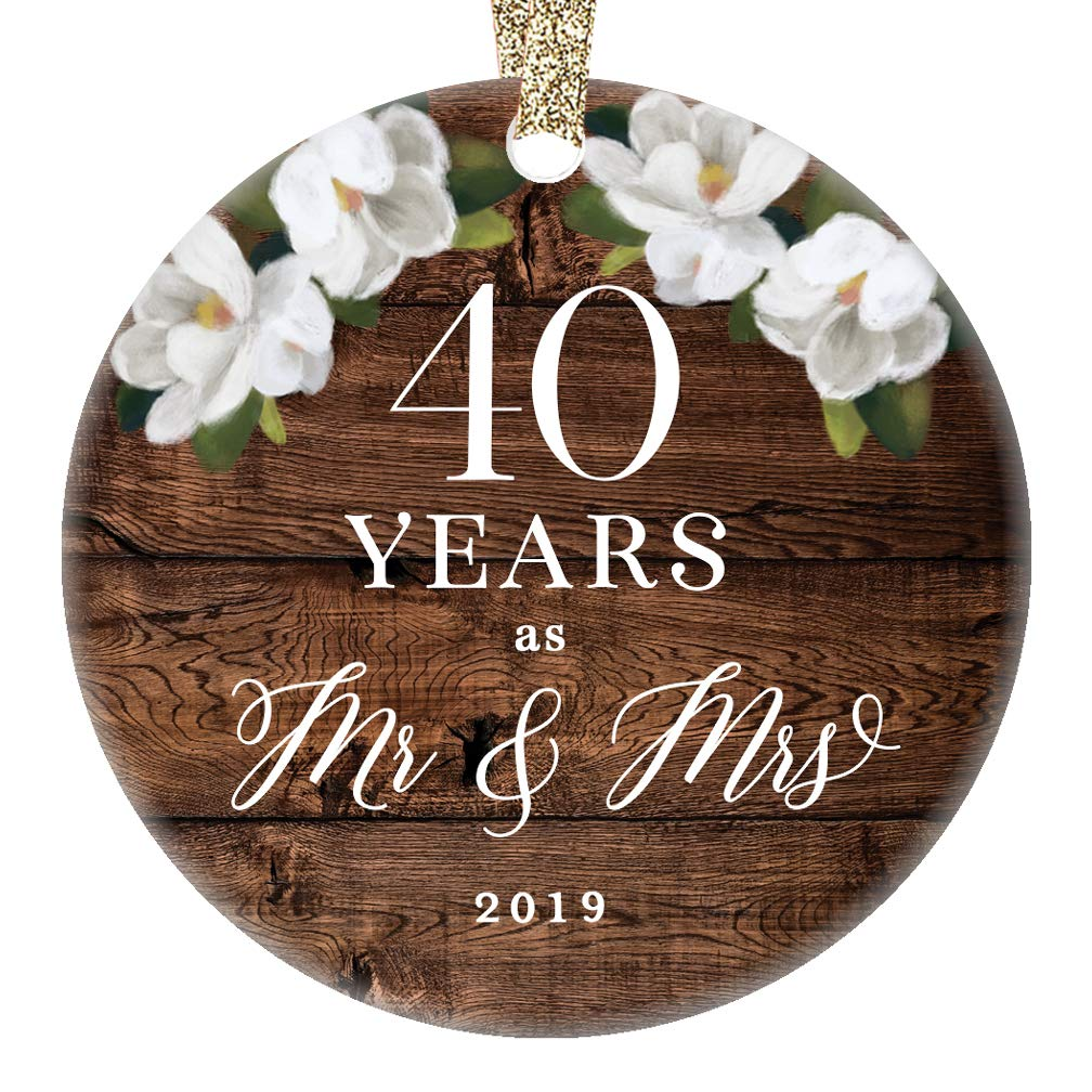 "Christmas 2019 Tree Ornament 40th Fortieth Wedding Anniversary Ceramic Collectible Present Couple Married 40 Forty Years Country Floral 3"" Flat Porcelain Keepsake with Gold Ribbon & Free Gift Box"
