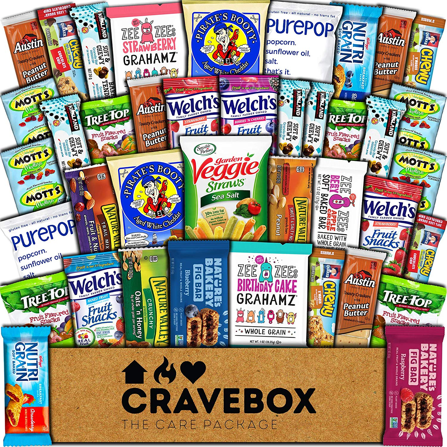 CraveBox Healthy Care Package (40 Count) Natural Bars Nuts Fruit Health Nutritious Snacks Variety Gift Box Pack Assortment Basket Bundle Mix Sample College Student Office Final Exams Valentines Day