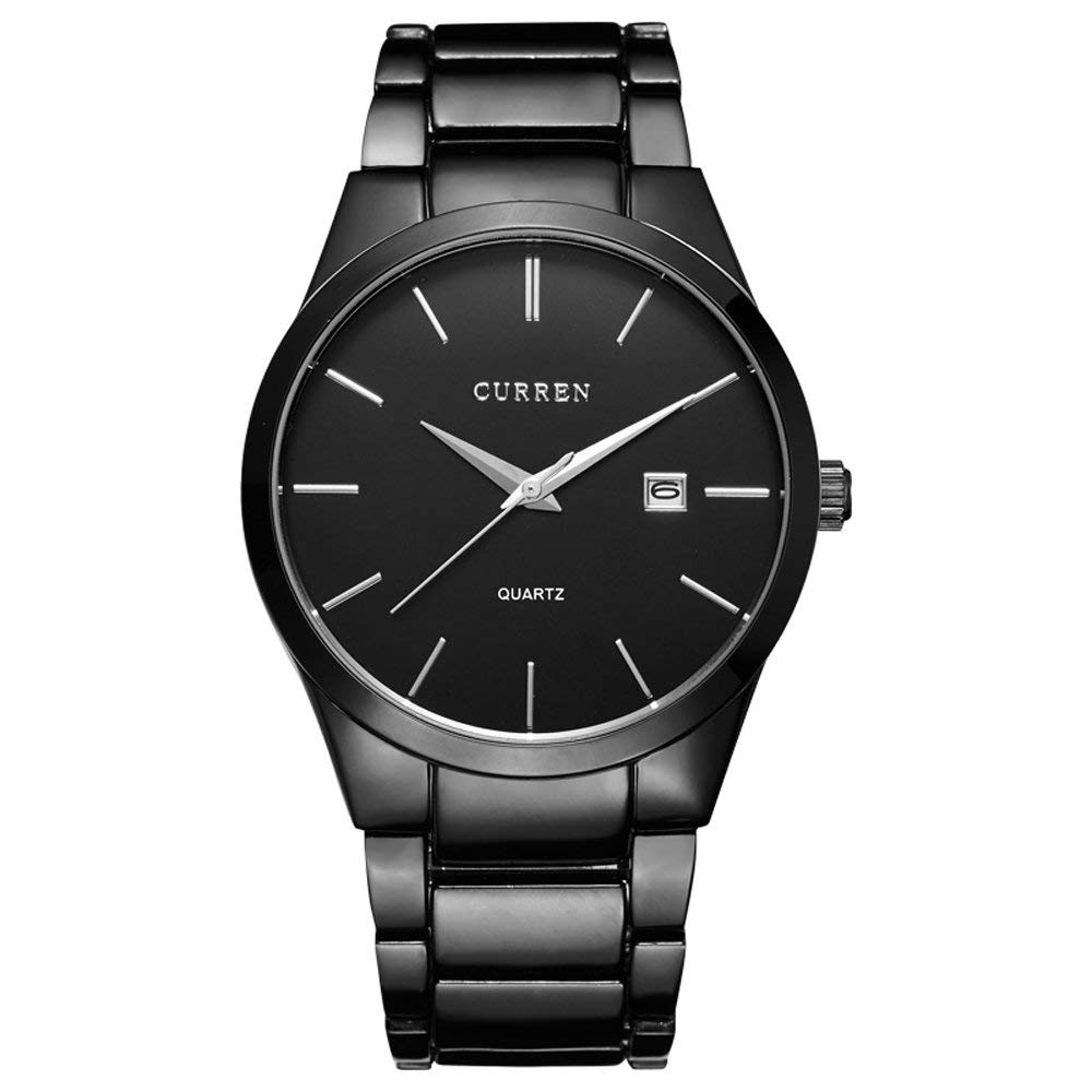 CURREN Men's Watches Classic Black/Silver Steel Band Quartz Analog Wrist Watch with Date for Man