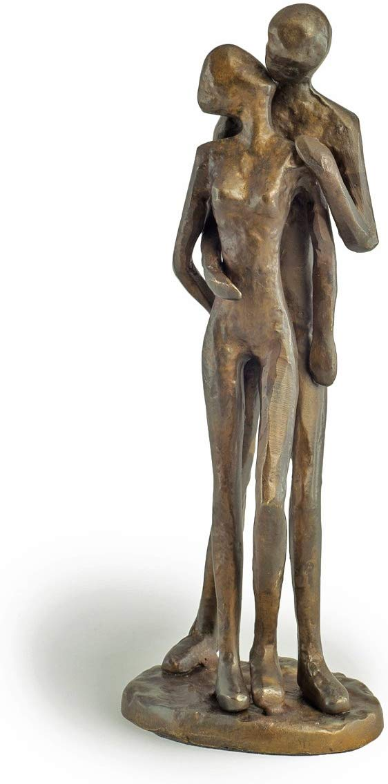 Danya B. ZD11075 Contemporary Sand-Casted Bronze Anniversary/Wedding/Engagement/Romance Sculpture – Couple Kissing