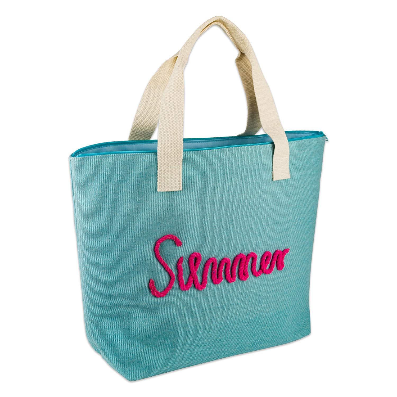 DII Knotty Summer Beach Bag 15.5x21x6.25 Shoulder Travel Tote Blue, Knotty Summer Blue