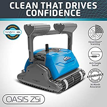 DOLPHIN Oasis Z5i Robotic Pool Cleaner with Powerful Dual Drive Motors and Bluetooth, Ideal for In-ground Swimming Pools up to 50 Feet.
