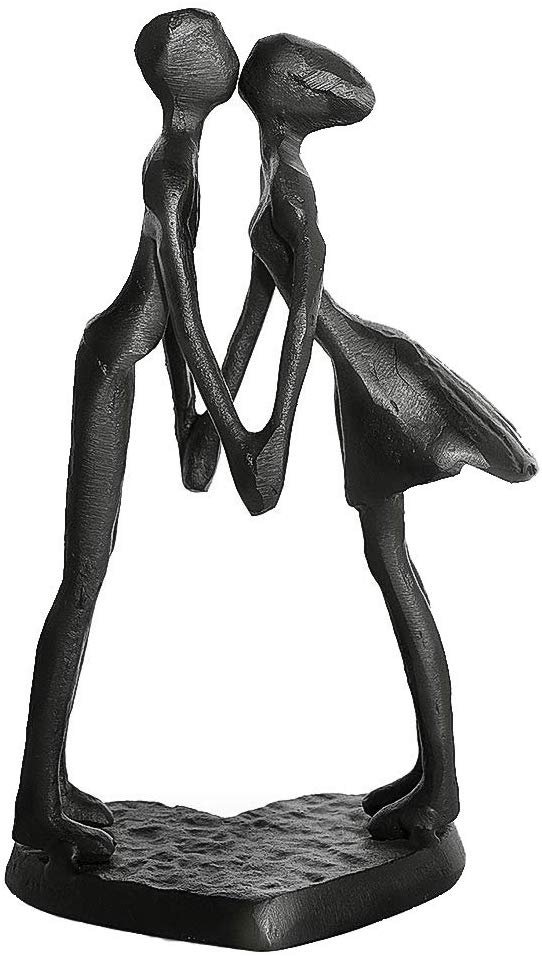 DreamsEden Affectionate Couple Art Iron Sculpture, Passionate Kiss & Holding Hands Statue Romantic Metal Ornament Figurine Home Office Decoration (Kiss & Holding Hands)