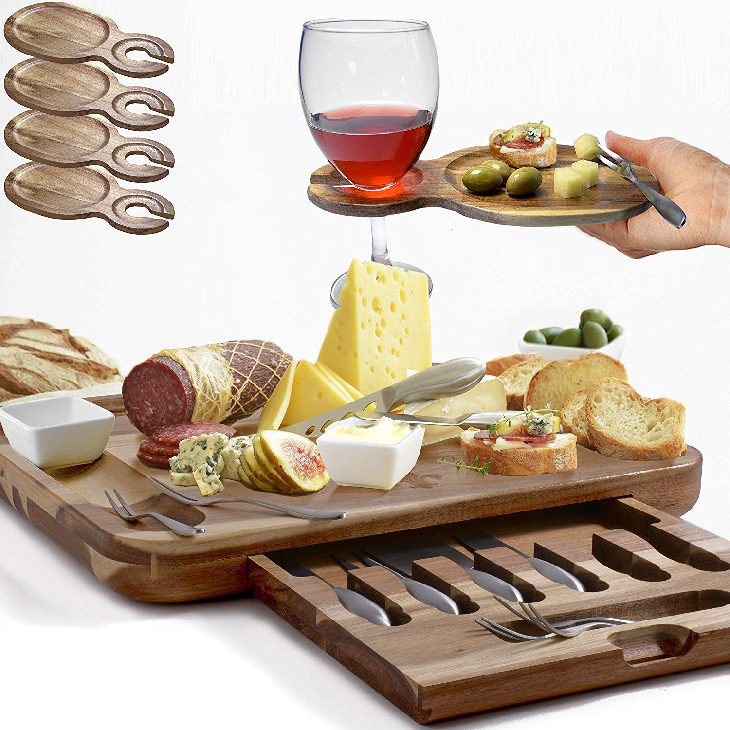 "Exquisite Cheese Board & Utensils Gift Set – Extensive Serving Set –X- Large Acacia Board (15.75""x13"") & 6 Cheese Knives & 6 Appetizer Forks & 3 Ceramic Dishes & 4 Wine Appetizer Plates"