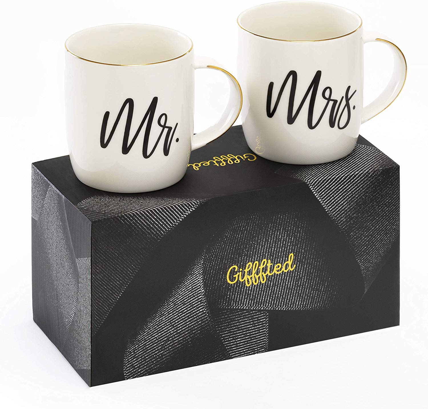 Gifffted Mr and Mrs Mugs, Unique Wedding Gift For The Couple, Gifts For Engagement, Anniversary, His and Hers, Bride and Groom, Great Valentines and Christmas Gifts For Couples, Set of 2 Coffee Mugs
