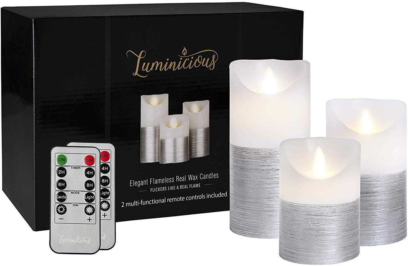 Giftable Decorative Flameless Candles Flickering LED | Battery Operated Electric Pillar Candle | Realistic Moving Flame Flicker with 2 Remote Controls & Timer | Real Wax Silver Trim | Great Home Decor