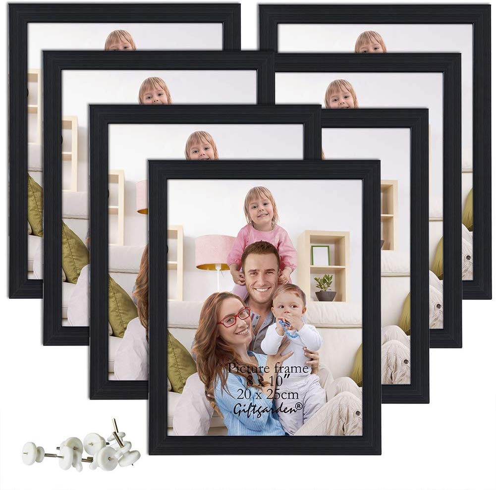 Giftgarden 8x10 Picture Frame Multi Photo Frames Set Wall or Tabletop Display, 7 PCS, Black