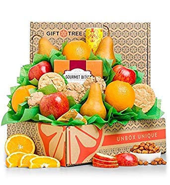 GiftTree Fresh Fruit & Cookies Gift Basket   Box Includes Apples, Oranges, Pears, Oatmeal Cookies, Wisconsin Cheddar Cheese & more   Perfect Thank You, Birthday, and Holiday Present
