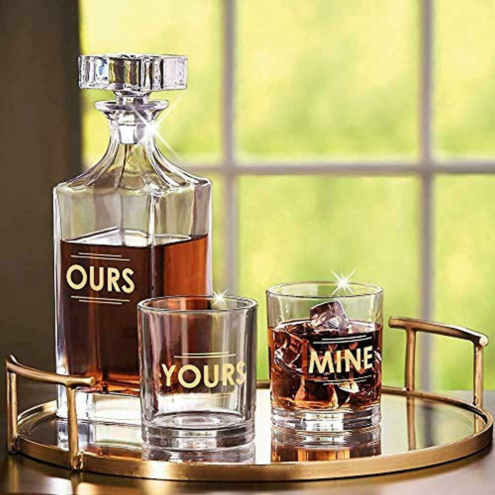 Godinger 3 Piece Whiskey Decanter Set for Liquor Scotch Bourbon or Wine, DOF Yours, Ours & Mine Glasses