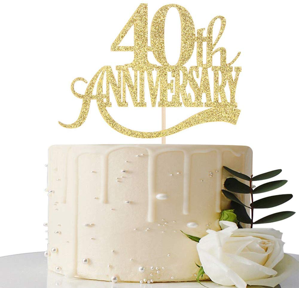 Gold Glitter 40th Anniversary Cake Topper - for 40th Wedding Anniversary / 40th Anniversary Party / 40th Birthday Party Decorations