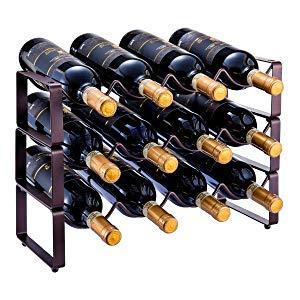 GONGSHI 3 Tier Stackable Wine Rack, Countertop Cabinet Wine Holder Storage Stand - Hold 12 Bottles, Metal (Bronze)