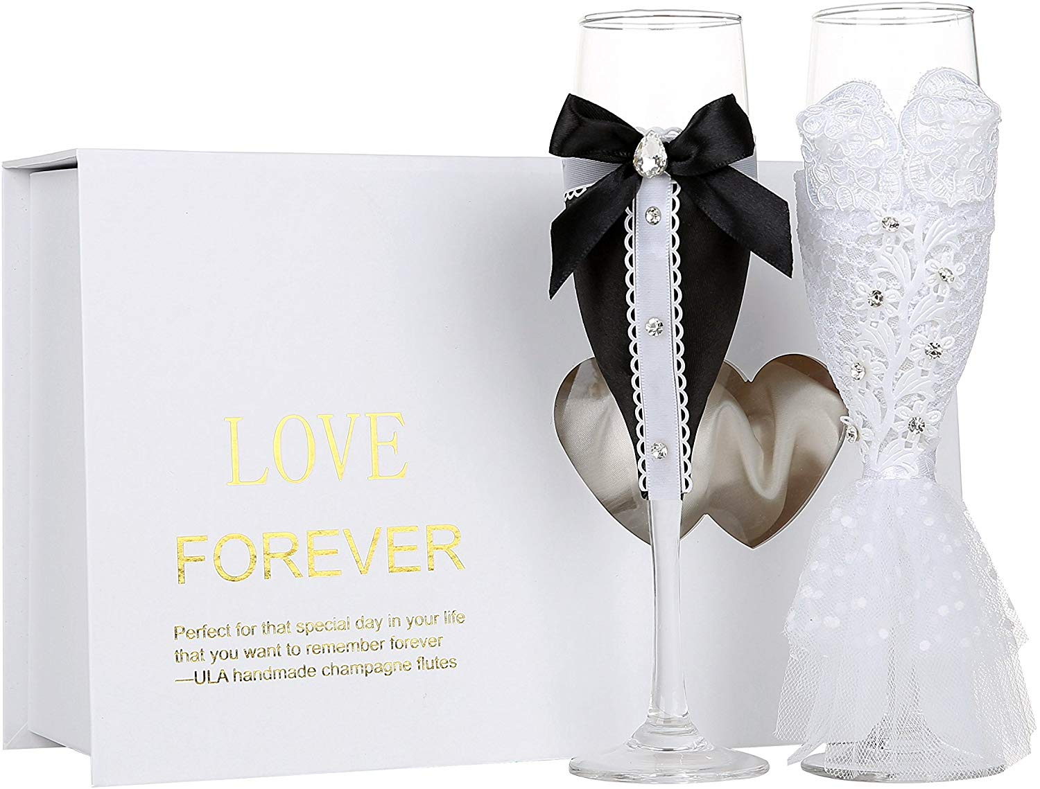 Handmade Wedding Champagne Flutes-Bride and Groom Design-Bridal Shower Gifts,Wedding Gifts,Couples Gifts,Anniversary Gifts(Set of 2) (Black Bow and White Dress Gorgeous)