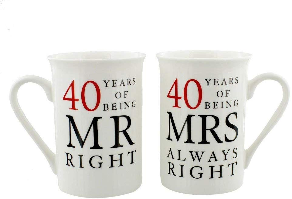 Happy Homewares Ivory 40th Anniversary Mr Right & Mrs Always Right Mug Gift Set