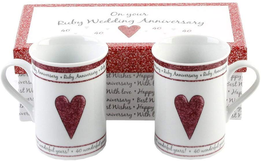 Haysom Interiors 40th Ruby Wedding Set Ceramic Mugs
