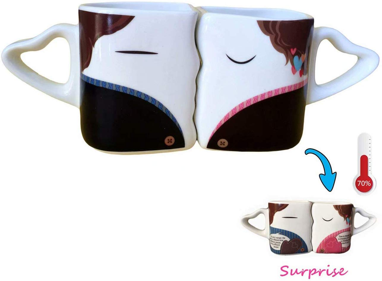 Heat Sensitive Kissing Mugs Set Tea Cup Milk Couple Mugs Funny Valentine's Day Romantic Birthday Gifts for You