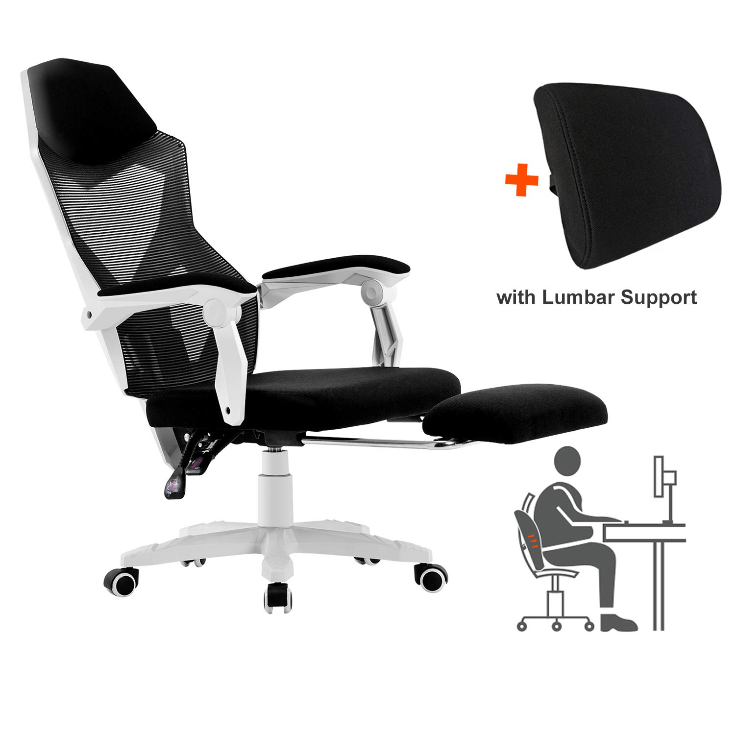 HOMEFUN Ergonomic Office Chair, High Back Adjustable Mesh Recliner Chair with Footrest, Desk Task Chair with Armrests White and Lumbar Support