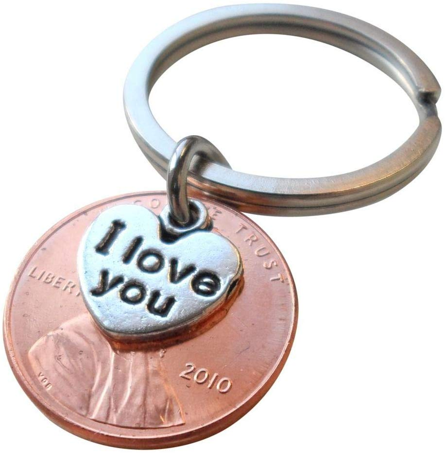 I Love You Heart Charm Layered Over 2010 Penny Keychain, 10 year Anniversary Gift, Birthday Gift, Couples Keychain