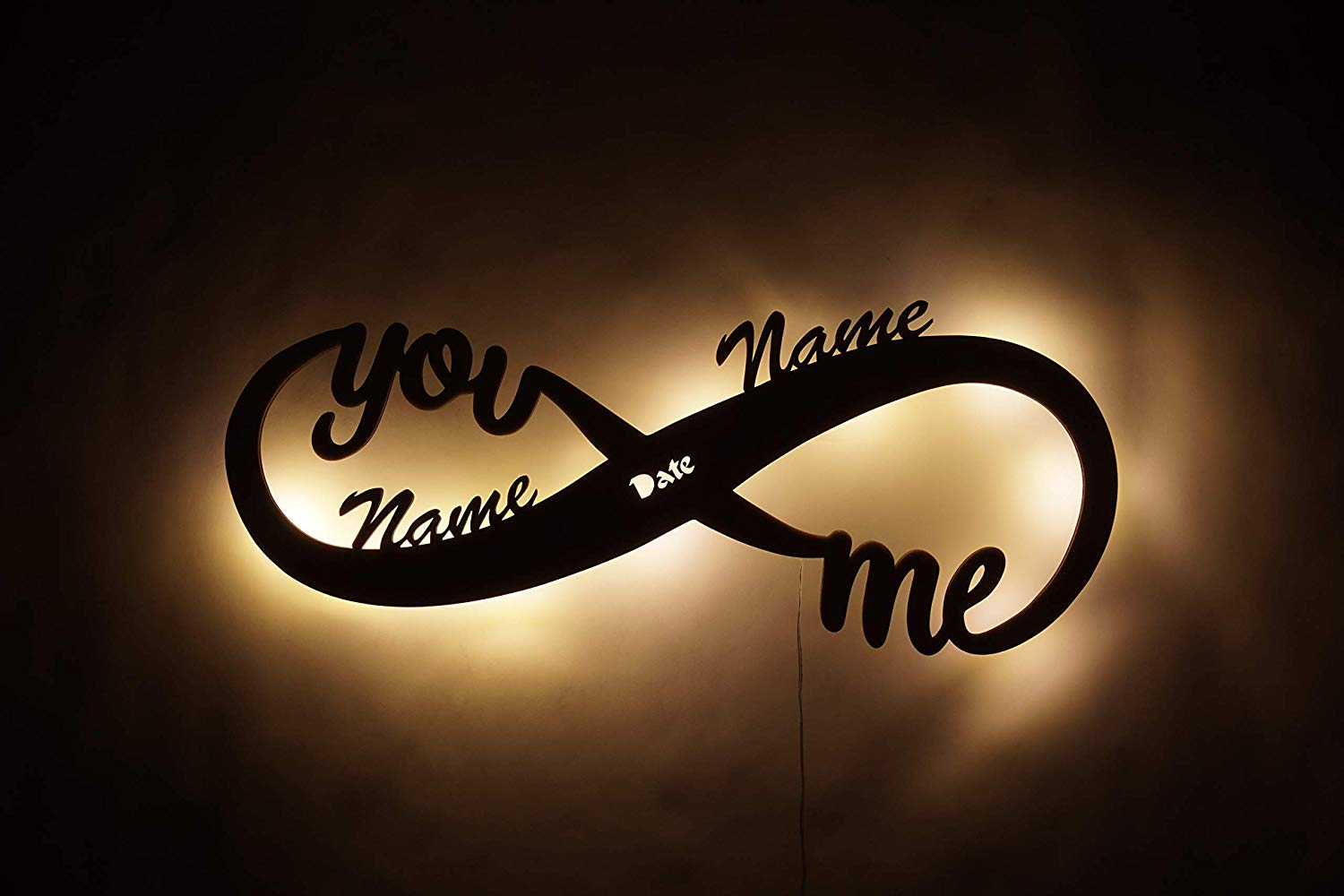 Infinity I Love You Decor LED Night Light Romantic Gifts for Men Wife Couples him and her Boyfriend Girlfriend Personalized with Both Names Suitable for Anniversary Wedding Marriage Engagement