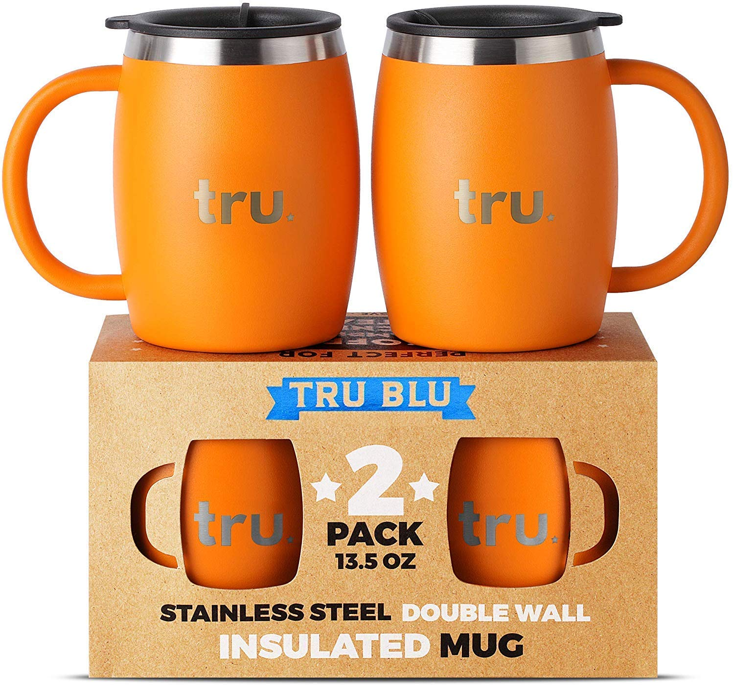 Insulated Coffee Mug with Lid (Set of 2) - Stainless Steel Camping Mug with Handle, Double Wall Metal Cup - BPA Free, Shatterproof, Dishwasher Safe (13.5oz)