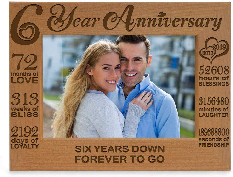 KATE POSH Six Year Anniversary, 6th Wedding Anniversary Engraved Natural Wood Picture Frame, 6 Years Together, 6 Years as Husband and Wife, as Boyfriend and Girlfriend, Couple Gifts (5x7 Horizontal)