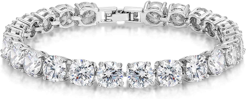 KEZEF Simulated Precious Gemstone Tennis Bracelet Round Cut 7mm Silver Plated Brass 7 inch