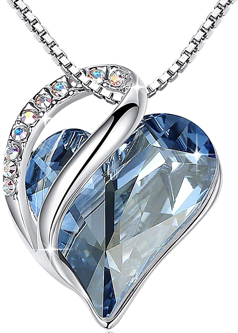 """Leafael """"Infinity Love Heart Pendant Necklace Made with Swarovski Crystals Birthstone Jewelry Gifts for Women, Silver-Tone, 18""""+2"""", Presented by Miss New York"""