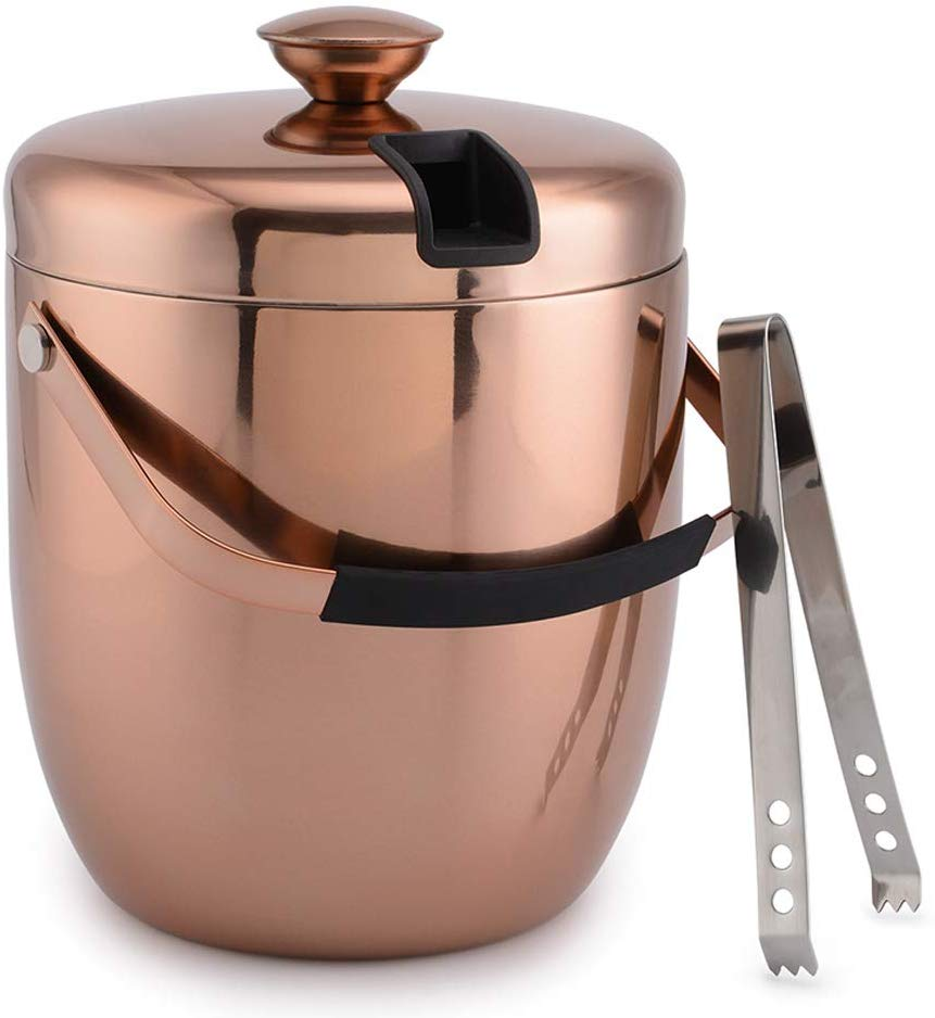 Malmo Stainless Steel Double Walled Ice Bucket with Tongs & Lid (3L) - Steel Interior & Copper Exterior - Chiller Bin Basket for Parties, BBQ & Buffet