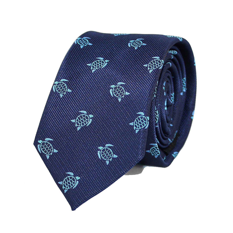 MENDEPOT Microfiber Jacquard Sea Turtle Pattern Necktie Blue Tortoise Animal tie