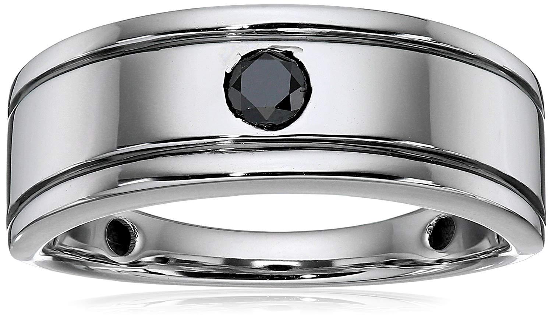 Men's 10k White Gold Black Diamond (1/3cttw) Ring, Size 10.5
