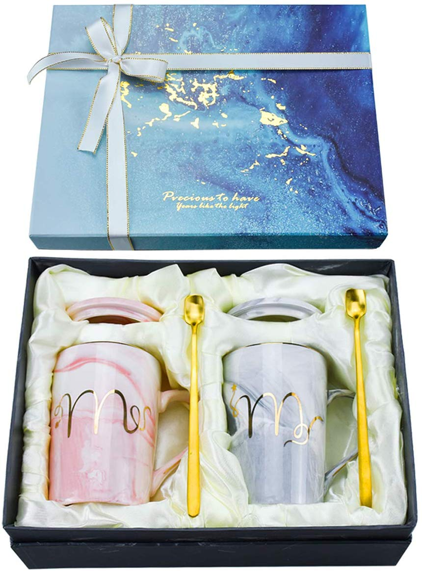 Mr and Mrs Marble Coffee Mug Set, Wedding Gift for Bride and Groom, Bridal Shower Engagement Wedding and Anniversary, 13 Oz