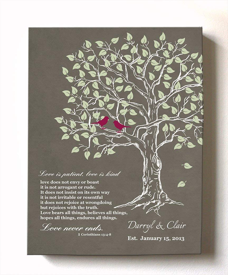 MuralMax - Personalized Anniversary Family Tree Artwork - Love is Patient Love is Kind Bible Verse - Unique Wedding & Housewarming Canvas Wall Decor Gifts - Color Khaki # 1 - Size 20x24