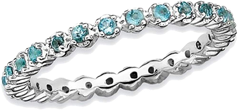Natural Blue Topaz Stackable Band Ring 1/2 Carat (ctw) in Sterling Silver