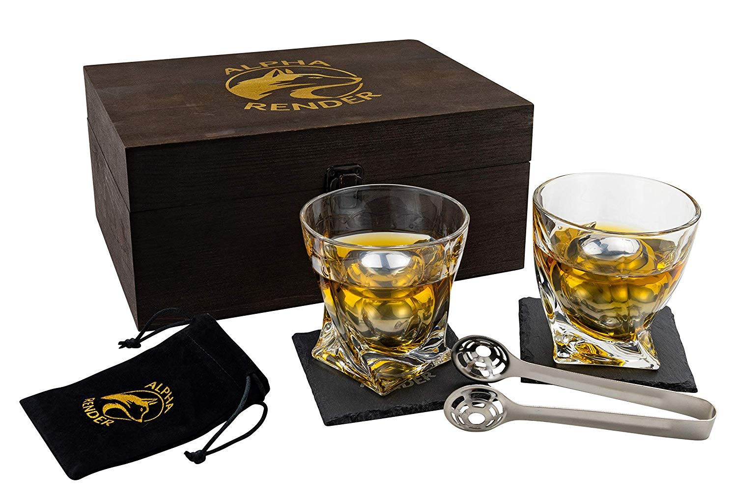 PREMIUM WHISKEY DRINK SET BY ALPHA RENDER- 2 XL KING SIZED CHILLER BALLS, 2 11OZ TWIST GLASSES, SPECIAL ROUND TONGS, PINE WOODEN BOX, GIFT FOR MEN, DAD, HUSBAND, GRANDPA, BOYFRIEND, OR ANNIVERSARY.
