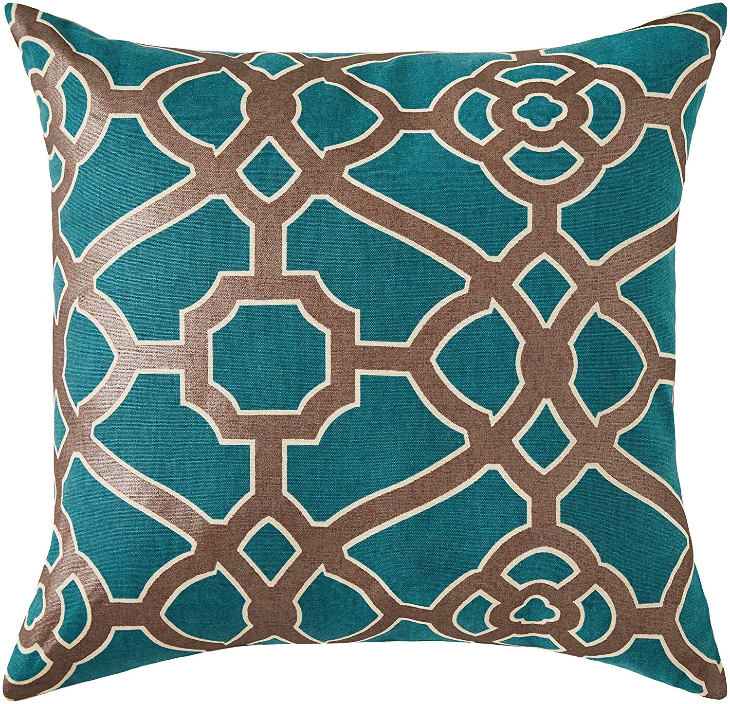 Ravenna Home Contemporary Geometric Pattern Throw Pillow - 20 x 20 Inch, Teal and Bronze