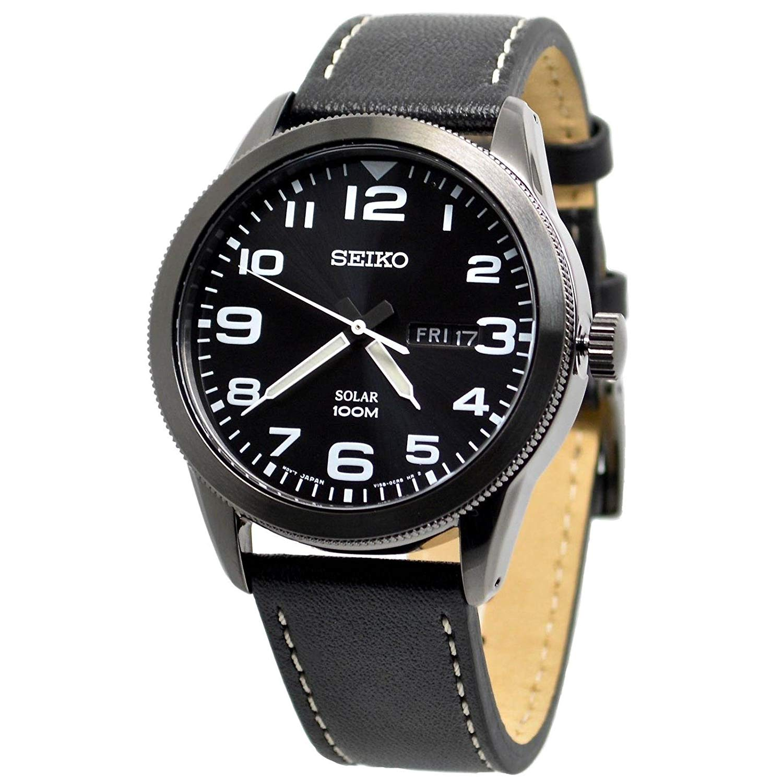 Seiko Solar Black Dial Men's Watch SNE477P1