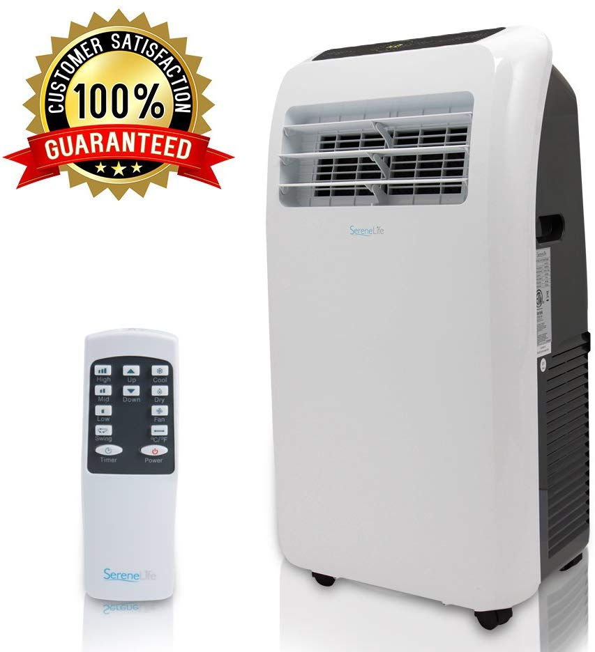 SereneLife 12,000 BTU Portable Air Conditioner, 3in1 Floor AC Unit with BuiltIn Dehumidifier, Fan Modes, Remote Control, Complete Window Mount Exhaust Kit for Rooms Up to 450 Sq. ft, Black
