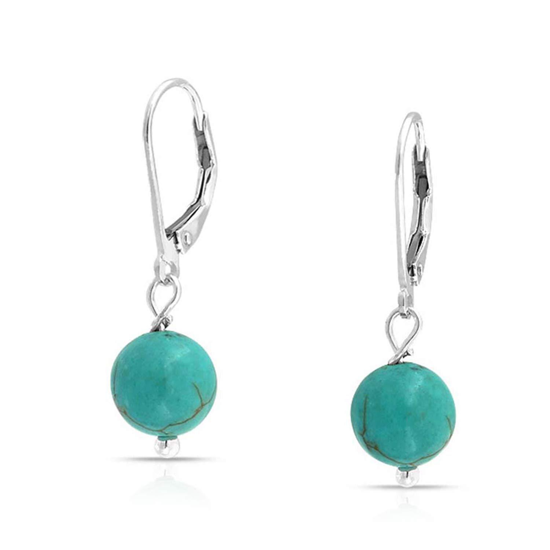 Simple Leverback Bead Ball Stud Earrings Sterling Silver Birthstones Gemstones