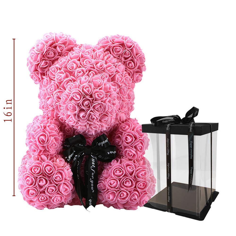 """SW The Rose Bear Fully Assembled - 16 inch Rose Flower Teddy Bear Made of Soft Synthetic Roses a Great, Valentines Gift 16""""(Big Pink)"""