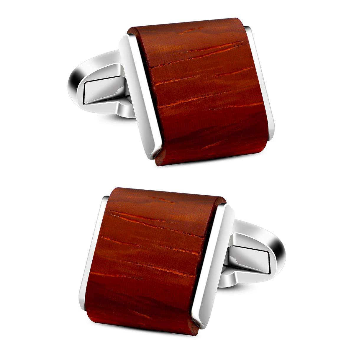 VIILOCK Mens Natural Handmade Rosewood Cufflinks Handcrafted Wooden Square Cuff Links