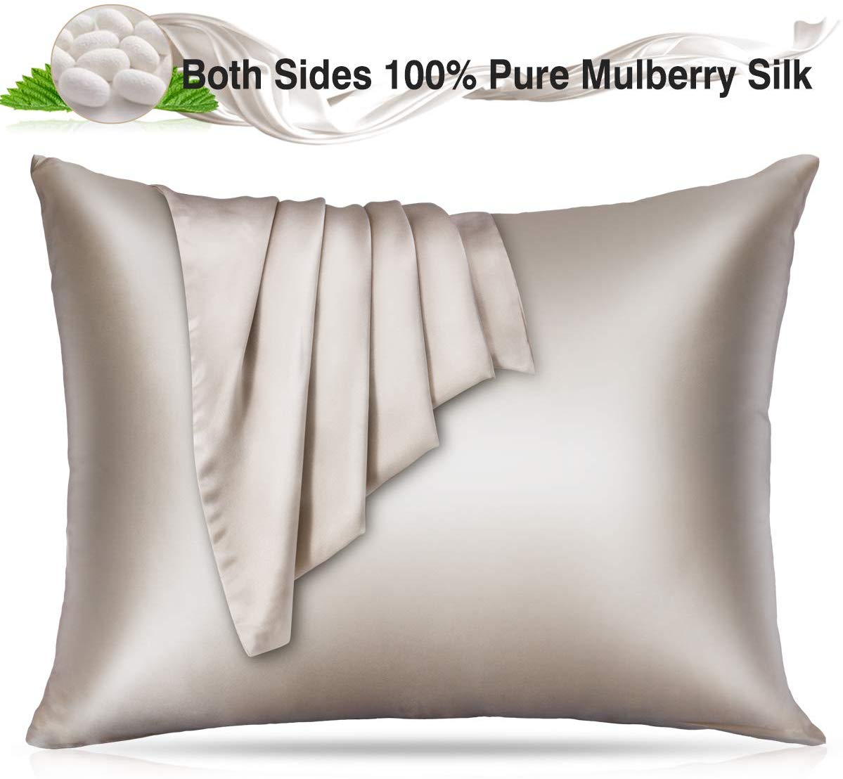 Villsure 100% Silk Pillowcase for Hair and Skin, 22 Momme Natural Mulberry Both Sides Hypoallergenic Pure Silk Pillow Cases with Hidden Zipper,Bed Silk Pillowcases Covers,1PC Standard Size- Apricot