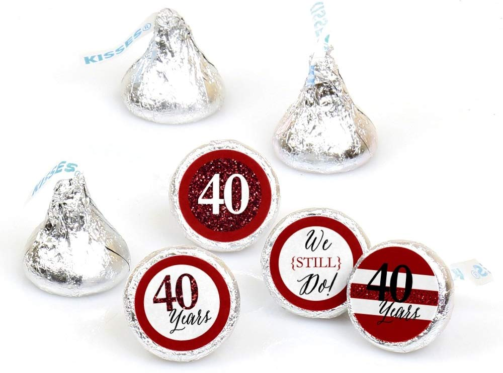 We Still Do - 40th Wedding Anniversary - Party Round Candy Sticker Favors – Labels Fit Hershey's Kisses (1 Sheet of 108)