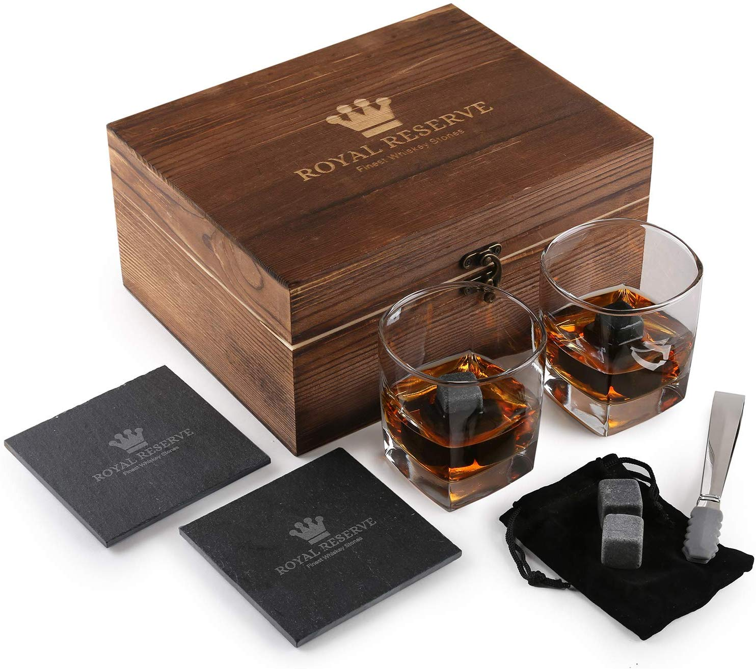 Whiskey Stones Gift Set by Royal Reserve | Husband Birthday Gifts Artisan Crafted Chilling Rocks Scotch Bourbon Glasses and Slate Table Coasters – Gift for Men Dad Boyfriend Anniversary or Retirement