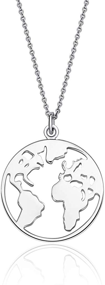 World Map Necklace, Sterling Silver Travel Necklace Earth Wanderlust Necklace Graduation Gift