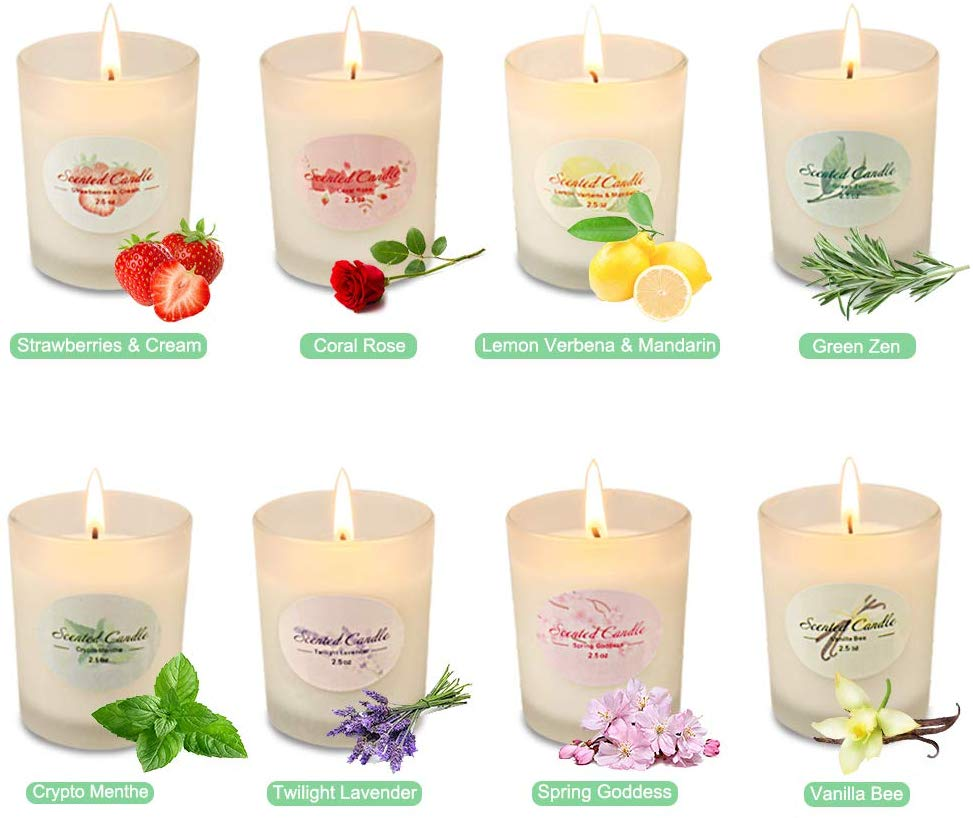 YMing Scented Candles for Women Glass Jar Candle Set Luxury Natural Soy Wax Fragrance Essential Oils Stress Relief Relaxation Birthday Gift