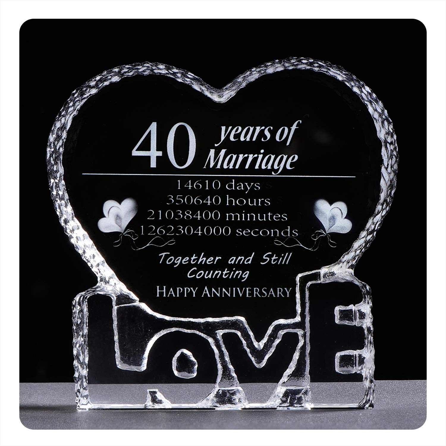 YWHL 40 Year Wedding 40th Anniversary Crystal Sculpture Keepsake Gifts for Her Wife Girlfriend Him Husband (40th Year)