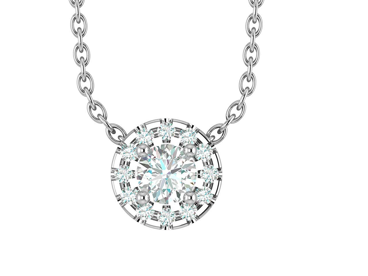 """14K White Gold 1/4-3/4 Carat (H-I Color,SI2-I1 Clarity) Natural Diamond Halo Solitaire Pendant Necklace for Women with 18"""" Silver Chain"""
